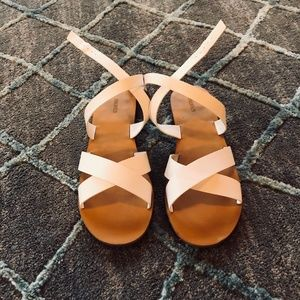 White Faux Leather Criss Cross Sandals